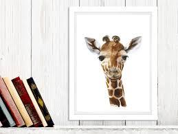 Giraffe Nursery Decor Safari Nursery Decor Baby Giraffe Animal Portrait
