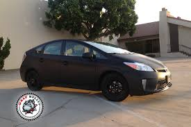 toyota prius wrapped in matte black wrap wrap bullys