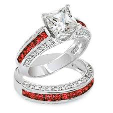thin line wedding ring thin line 7mm princess cut engagement ring set and clear