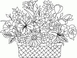 nice looking flower basket coloring pages flower bouquet with