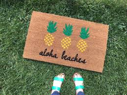 aloha beaches pineapple doormat pineapple decor funny