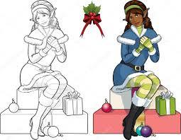 christmas elf african american with mistletoe lineart u2014 stock
