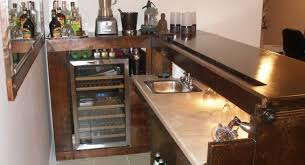bar elegant home bars design ideas with notched shape brown