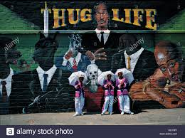 tweede nuwe jaar tupac gangster rap culture invades hard living stock photo tweede nuwe jaar tupac gangster rap culture invades hard living gang territory in form twin murals entitled west side and