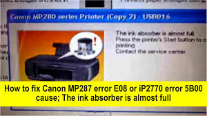 tool reset printer canon ip2770 how to fix canon mp287 error e08 or ip2770 ip2772 error 5b00 youtube