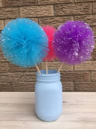 tulle pom poms jar and tulle pompoms centerpiecesfrozen party