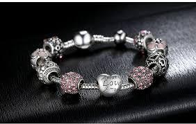 bangle bracelet charm silver images Flower crystal love charm silver bead bangle bracelet jpg