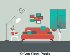 clipart vector of flat vector illustration of living room interior