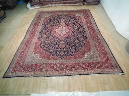 Handmade Iranian Rugs Soft Wool Navy Blue 9 U0027 X 13 U0027 Kashan Area Rug Handmade Persian Wool