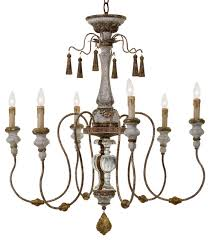 Lighting Chandeliers Traditional Adelia French Country Distressed Rustic 6 Light Chandelier