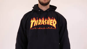 thrasher hoodies flame hood black men youtube