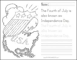 fourth of july coloring sheet with handwriting practice student
