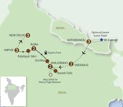 Map Nepal India by Eurovista Holidays Premium Escorted Small Group Coach Tours In
