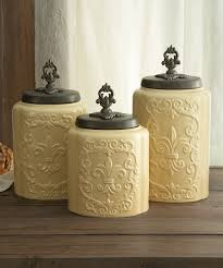 beige fleur de lis ceramic kitchen canisters set 3 by cream antiqued canister set something special every day