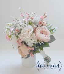 Silk Wedding Flowers Blush And Ivory Silk Wedding Bouquet With Wildflowers Garden