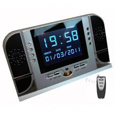 alarm clock camera with lcd motion detection 8 ir led cool mania