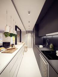 Black Galley Kitchen Long Black And White Galley Kitchen Set With Modern Appliances