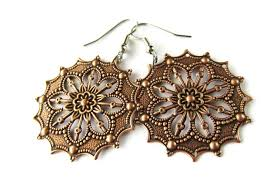 filigree earrings floral burst filigree earrings in antique silver or antique