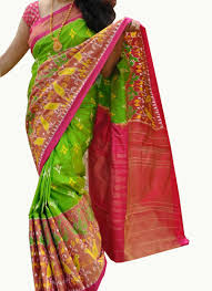 pink combination parrot green with pink combination big border ikat saree and blouse
