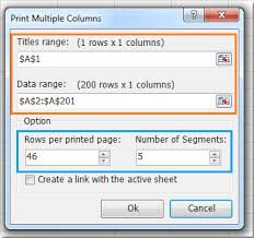 how to print long column on one page in excel