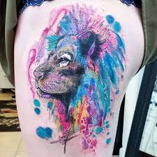 abstract style colorful thigh tattoo of lion head tattooimages biz