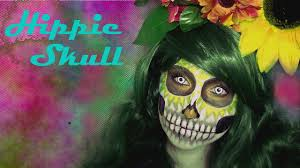 Hippie Makeup For Halloween by Halloween Countdown Hippie Skull Make Up Timelapse Youtube