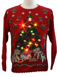 creative design christmas sweater with lights led fireplace