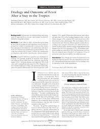 etiology and outcome of fever after a stay in the tropics