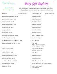 baby shower registries baby shower list ideas photo ba shower registry list image trends