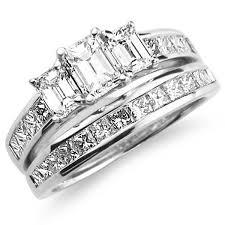 wedding band sets 14k white gold three diamond wedding ring set