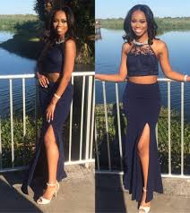 2017 navy blue two pieces prom african black lace dresses