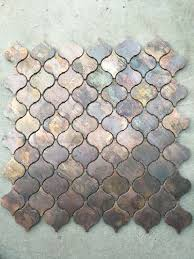 Copper Tiles For Kitchen Backsplash Arabesque Lantern Beacon Copper Tile In Bronze Brushed For Kitchen