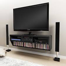 brown wooden floating tv media cabinet on wooden wall board