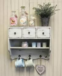 Kitchen Wall Shelf Vintage Chic Cupboard Rustic White Cabinet Shelf 3 Drawers Shabby