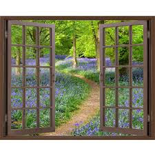illusion window view wall mural window view wall stickers window window frame mural bluebell wood huge size peel and stick fabric illusion 3d wall