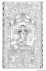 silk tapestry green tara early 1200 central asia coloring