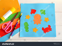 paper sea animals on blue card stock photo 432447817 shutterstock