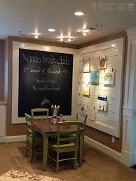 basement idea kid u0027s nook love the framed chalk board and art