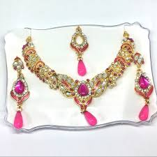indian necklace set images Salwar kameez jewelry pink gemstone indian necklace set poshmark jpg