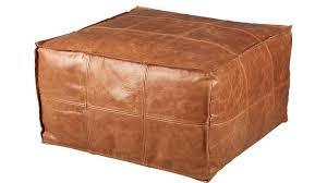 Square Brown Leather Ottoman Square Brown Leather Ottoman Pouf