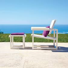 contemporary armchair aluminum with footrest garden