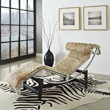 le corbusier style chaise lounge chair in pony hide multiple