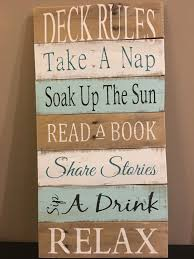 deck rules sign deck decor pallet sign wood sign home decor