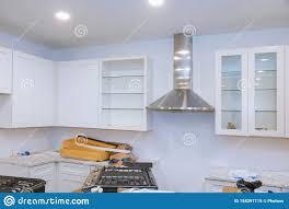 modern kitchen cabinets tools preparing to install custom new in modern kitchen stock