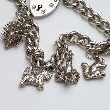 solid sterling silver charm bracelet images British vintage sterling silver bracelet with 5 animal charms jpg