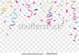 birthday ribbon colorful confetti ribbon falling on transparent stock vector