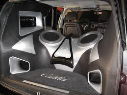 build a cadillac escalade trunk car audio escalade jl audio build out in the rear