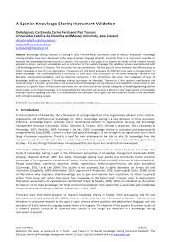 Inno Infr by A Spanish Knowledge Sharing Instrument Validation Pdf Download