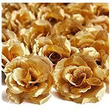 gold roses silk roses artificial silk flower heads 50pcs silk