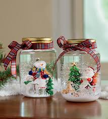 decorations snowman and santa glitter lovely jar snow